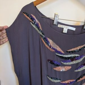 LC Lauren Conrad Tops - LC Lauren Conrad Gray Feather Beaded Sequin Blouse
